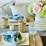 Faves! Blue Textured Table Setting, Resort Beach Wear