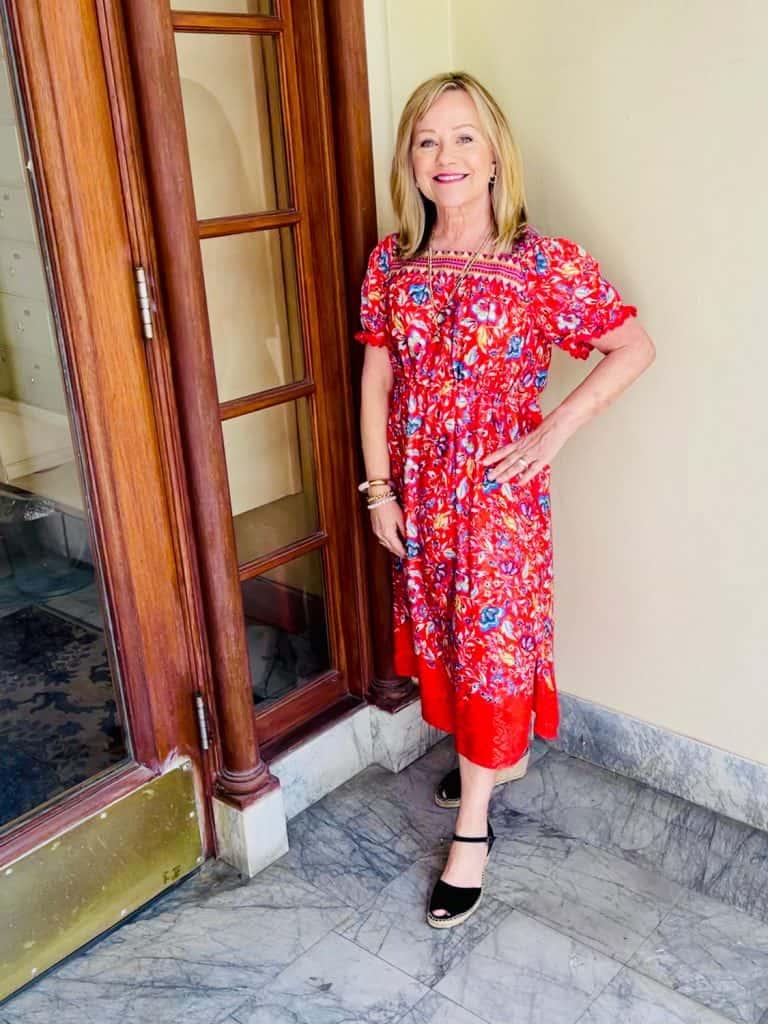 Red dress on Mary Ann Pickett