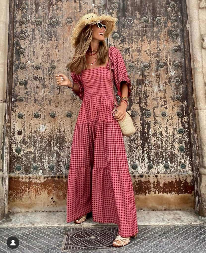 Red gingham smocked maxi dress