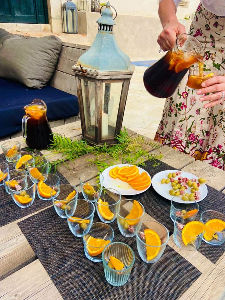 Rose Vermouth Cocktail with Orange Slice