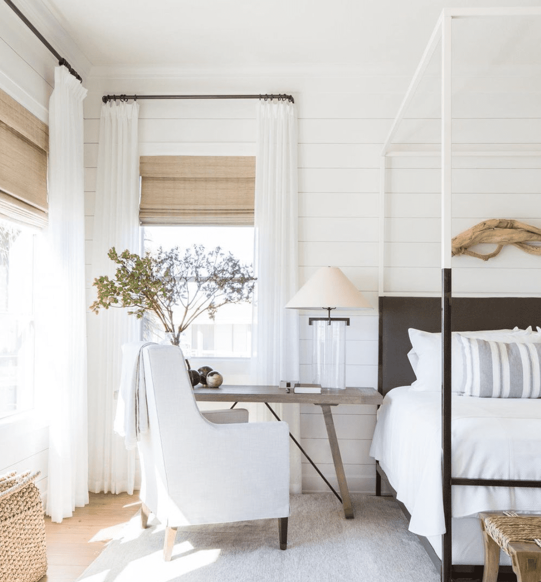 All White Bedroom with walls and trim painted white