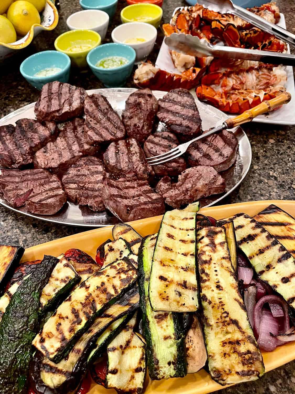 Grilled Steak, Lobster and Vegetables
